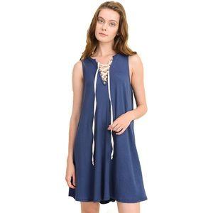 """""""Lela"""" Sleeveless Mini Dress w Lace Up Details"""
